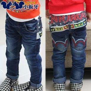 2013 autumn korean children cartoon stickers children cloth baby boy jeans long pants 6403 only $13.18USD a Piece