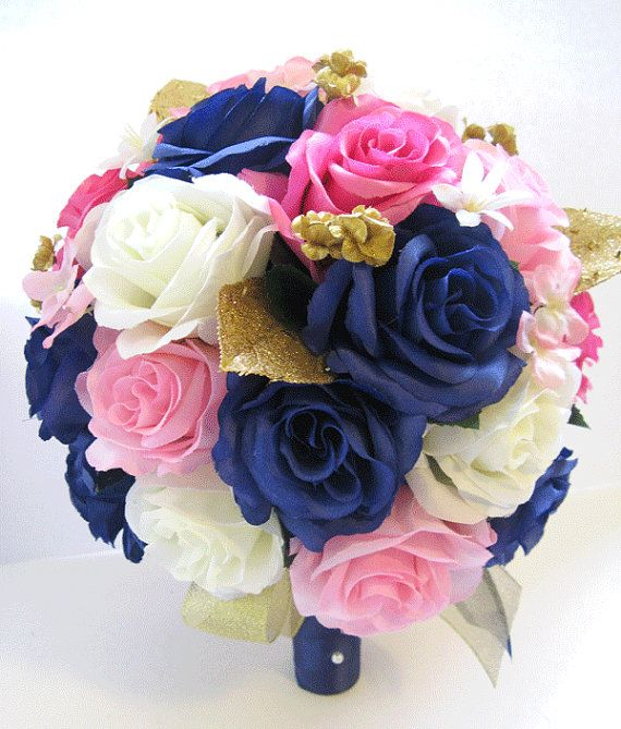Wedding silk flowers bridal bouquet hot pink navy light for Pink and blue flower arrangements