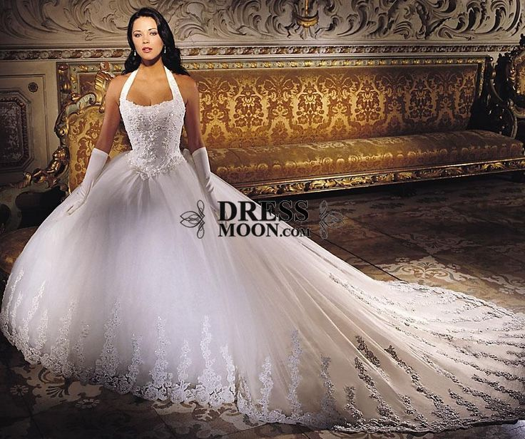 Beautiful Ball Gown Halter Chapel Train Lace Wedding Dress - A-Line Dresses - Wedding Dresses - Weddings