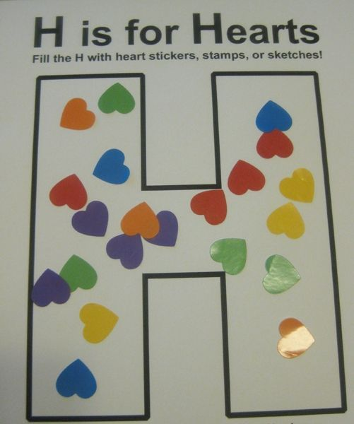 h is for hearts alphabet activities for kids **free worksheet**