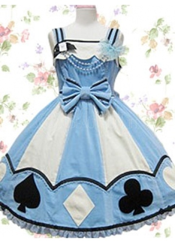 Straps Empire Short Cotton Poker Sweet Lolita Dress With Pattern And Bow--- Very Alice In Wonderland!