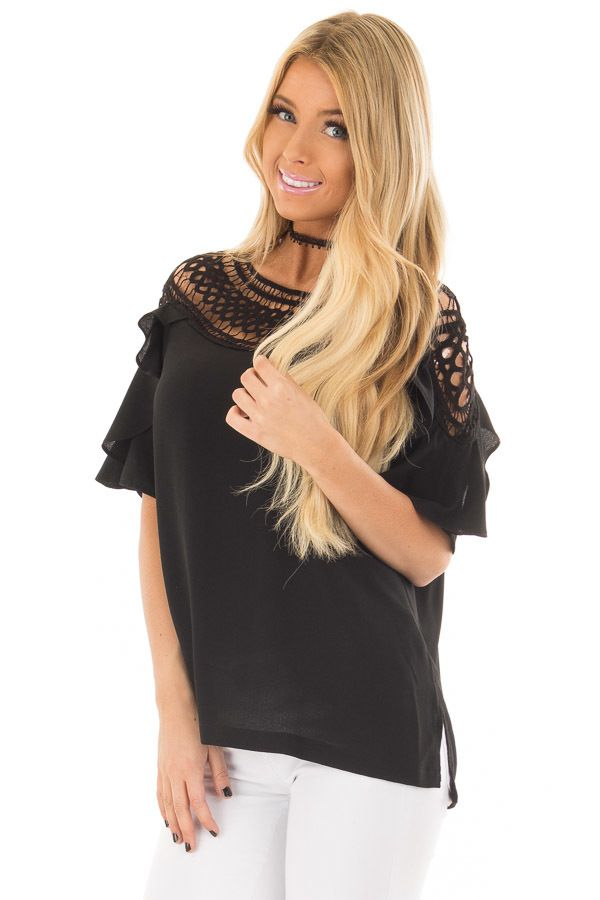 Black Ruffle Top with Sheer Lace Detail
