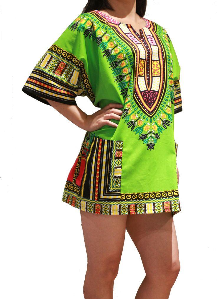 African Dashiki Shirt - Light Green - One Size Fit XS to XL