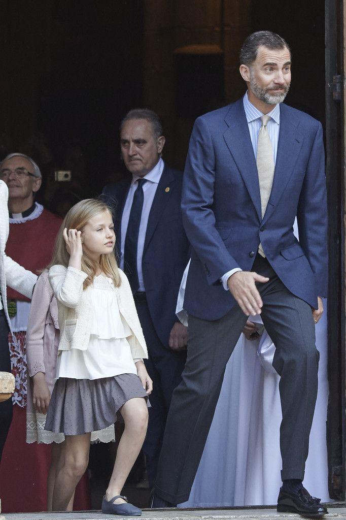 Leonor, Princess of Asturias and Don Felipe VI. Spanish Royals Attend Easter Mass in Palma de Mallorca on April 5, 2015