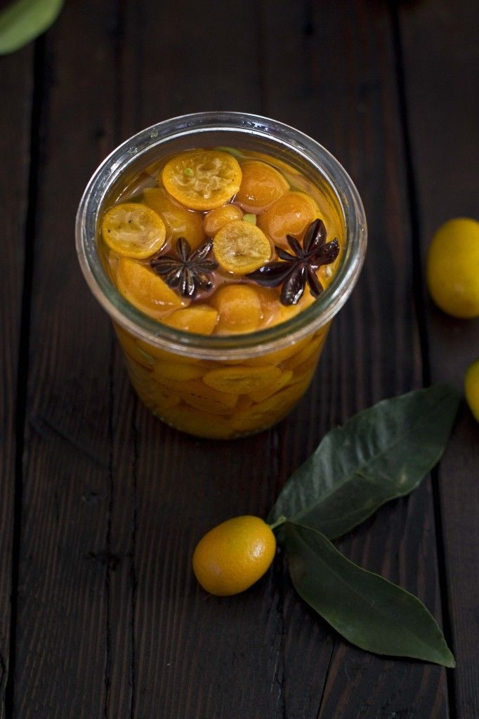 Anise Buttermilk Panna Cotta with Candied Kumquats