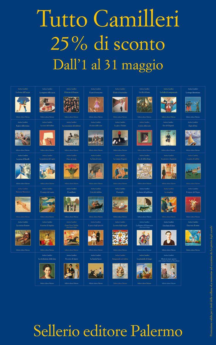 Ancora per pochi giorni in tutte le librerie italiane e su Sellerio.it tutti i romanzi di Andrea Camilleri (ad eccezione de 'La giostra degli scambi') con il 25% di sconto. Affrettatevi amici lettori!