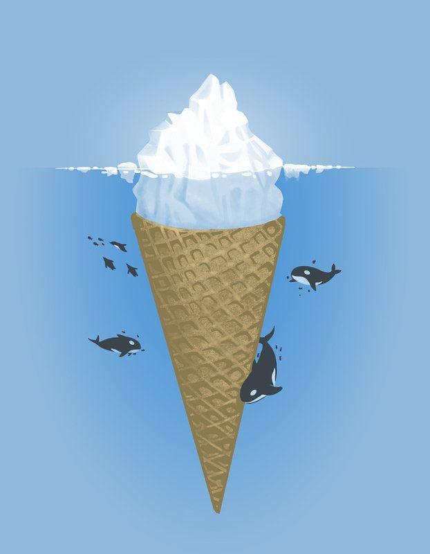 IceCreamBergKillers Whales, Nachos, Art Prints, Sea, Illustration Art, Drawing, Design, Icecream, Ice Cream Cones