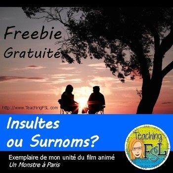 Our students should learn about kindness and inclusion during character education and as part of cultural education in foreign language classes. This free activity based on Un Monstre à Paris is to be used to learn about some names (terms of endearment or insults) that are used in the movie, and to launch a discussion about name calling, and how it is respectful to use terms of endearment only in the right context.