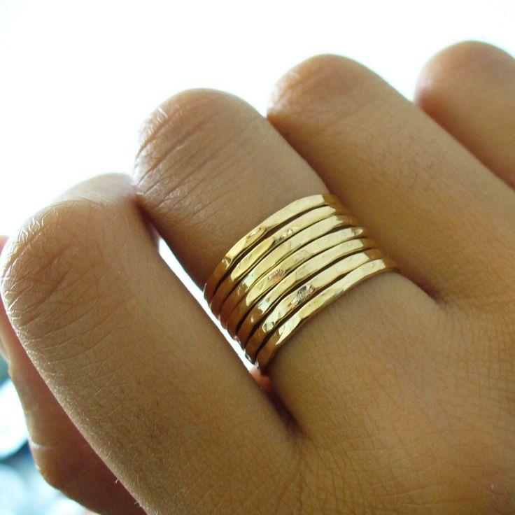 Hammered 7 Band Gold Stacking Ring Set. $69,00, via Etsy.