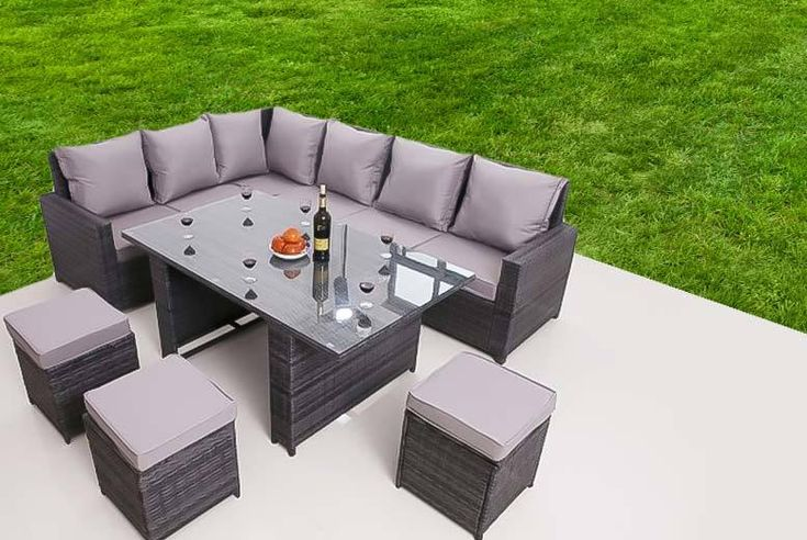 9-Seater Rattan Furniture Set deal in Sheds & Garden Furniture Get a nine-seater rattan garden furniture set this summer!  Put your feet up in the sunshine with a corner sofa and three footstools.  Includes a glass-topped dining table.  Style your garden with the included sleek grey cushions.  Great for the conservatory or patio.  Perfect for summer soirées! BUY NOW for just £419.00 Check more at http://nationaldeal.co.uk/9-seater-rattan-furniture-set-deal-in-sheds-garden-furniture/