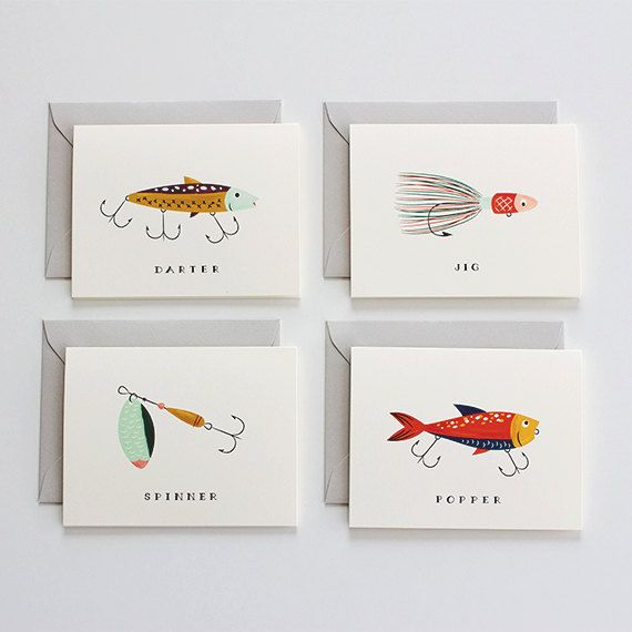 Father's Day Card fishing card fathers day card by mydearfellowco