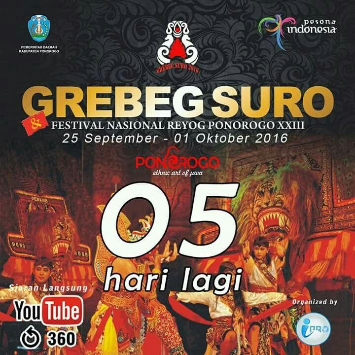 Semakin dekat perhelatan akbar Festival Nasional Reyog Ponorogo XXIII segera digelar. Pastikan anda menjadi bagian dari kemeriahan agenda tahunan Pemkab Ponorogo ini. #grebegsuro2016 #ponorogoduwegawe
