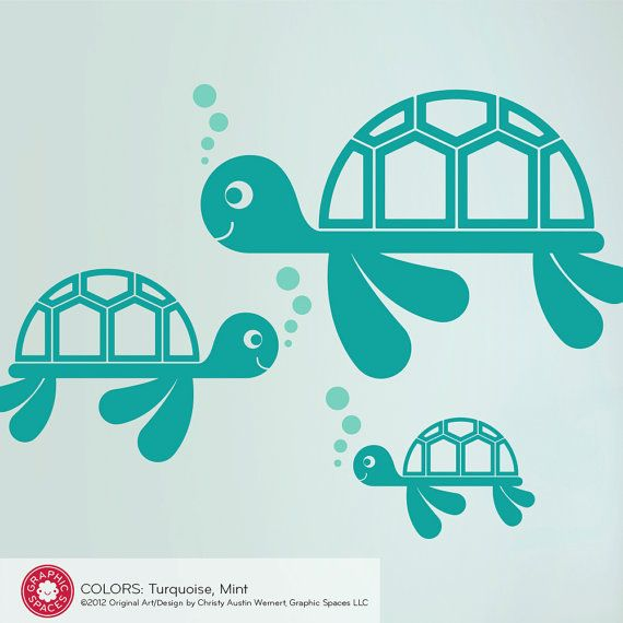 For Kai's ocean themed room: Sea Turtle Wall Decals by graphicspaces, $25.00