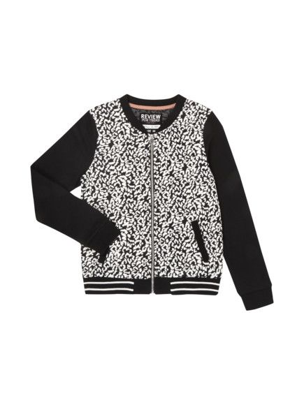 REVIEW FOURTEEN Collegejacke mit All-Over-Muster in Schwarz | FASHION ID Online Shop