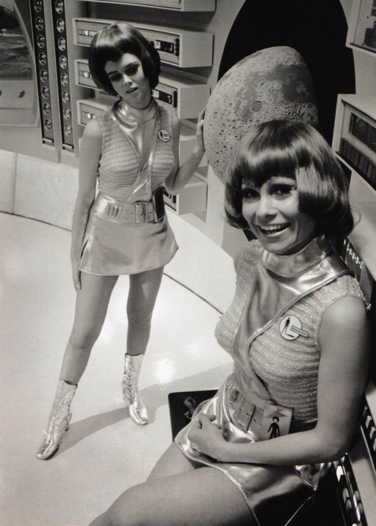 Futuristic outfits on the Moonbase set of UFO, a sci-fi series made by Gerry and Sylvia Anderson's Century 21 productions company. September 1969