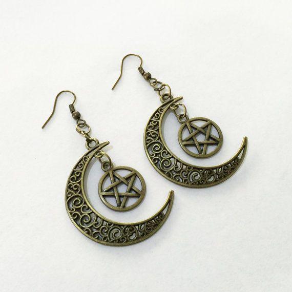 Pentagram Crescent Moon Earrings by TeacupRose on Etsy