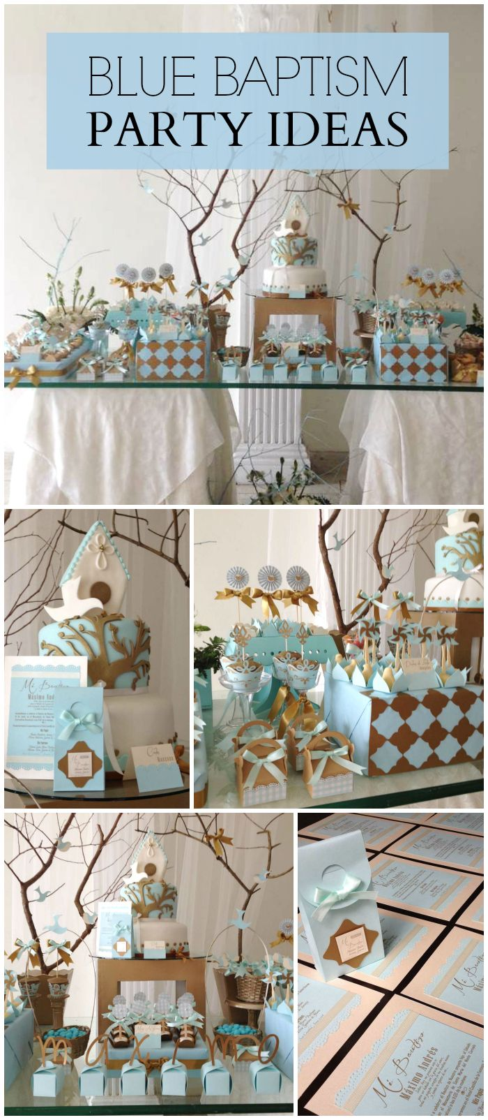 A blue baptism party for a baby boy with lovely party decorations and treats! See more party planning ideas at CatchMyParty.com!
