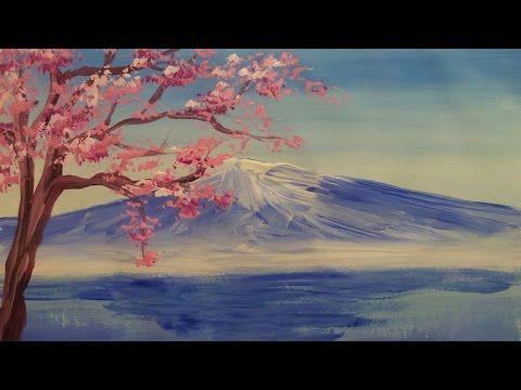▶ Как нарисовать гору и дерево гуашью [Картина за 3 минуты!] - YouTube
