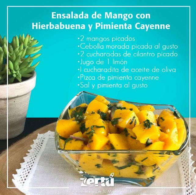 ¿Qué tal esta deliciosa ensalada de mango para la hora de la comida? Tan solo corta los ingredientes, revuelve muy bien y sal pimienta al gusto. * Junto con el cilantro incluye unas hojitas de HIERBABUENA al gusto. #NessZertú #foodie #foodporn #recetas #ayurveda #saludable #felicidad #zen #comesaludable #todonatural #zertumismo #comersano #dietasaludable