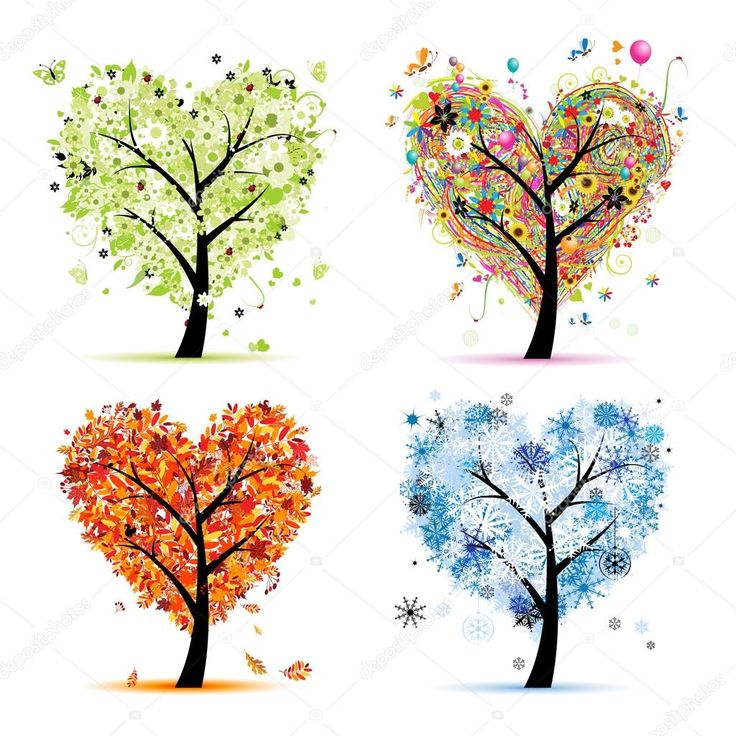Dört mevsim - Bahar, yaz, Sonbahar, kış. Sanat ağaç kalp şekli tasarımınız için