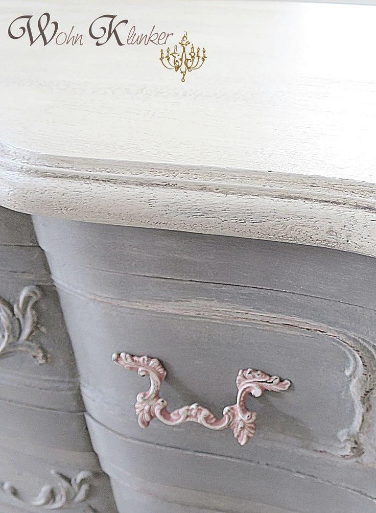 Kommode in drei Farben Old Ochre, Skandinavien Pink und French Linen