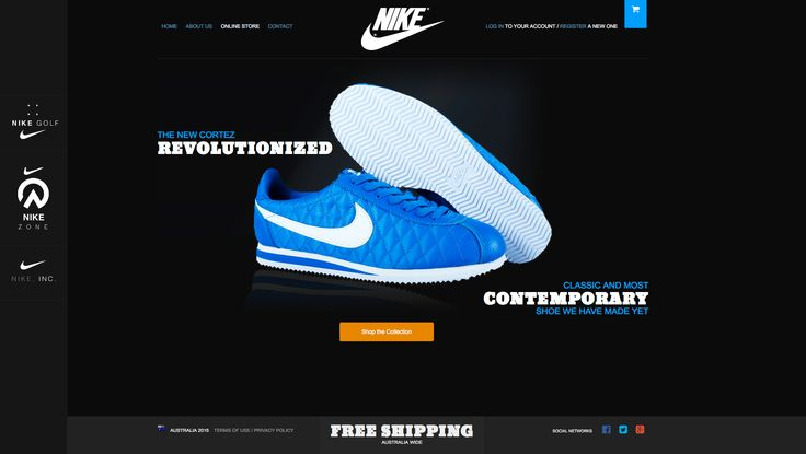 Nike Cortez, amazing shoe and great to wear, created a mockup homepage for it