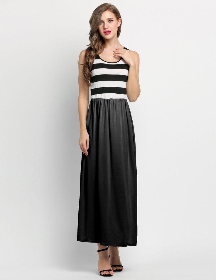 Black New Stylish Lady Womens Sleeveless Striped O-neck Party Maxi Long Casual Dresses