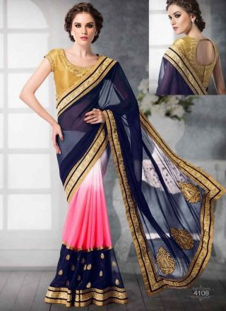 Blooming Blue And Pink Shaded Georgette Casual Sarees