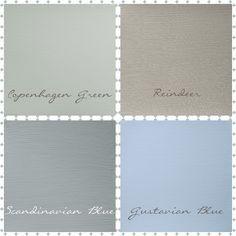 Lovely soft palette of Chalk Paint Scandinavian colours ... This is Gustavian Blue,Copenhagen Green, Reindeer and Scandinavian Blue fro Autentico