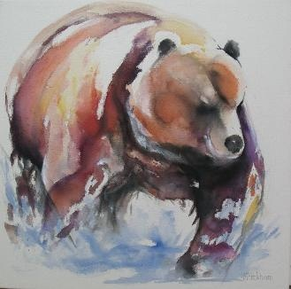 Faith Harckham series of bears painted using water colours on canvas