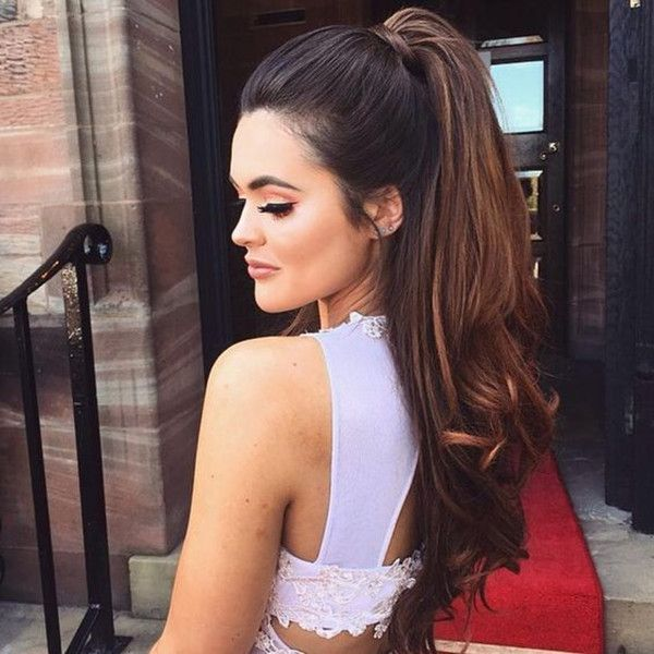 Caramel hightlight hair color idea with high ponytail, this style is great~