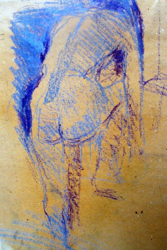 nude model pastel drawing