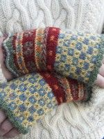 Latvian Fingerless Mitts Beth Brown-Reinsel beautiful pattern looks astounding in all colors of Nature Spun by Brown Sheep.  We're assembling these kits right now, and you'll find them available on our website very soon.