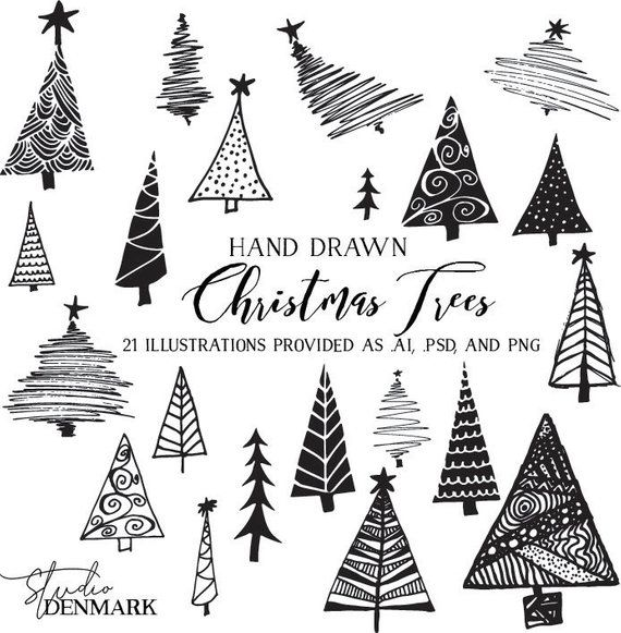 Christmas Trees Vector Clipart Holiday Clip Art Hand Drawn Etsy In 2020 Christmas Tree Art Christmas Drawing Christmas Tree Clipart