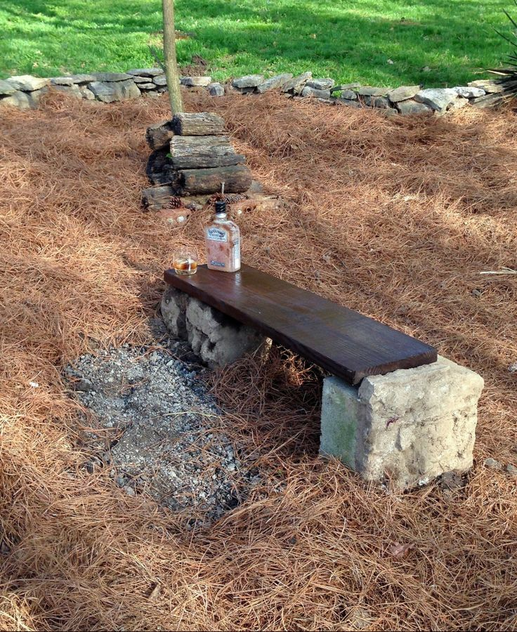 Left over 2x12 deck wood with walnut stain. Cinderblocks base (free). (Gentlemen Jack not included in price, lol) #LowBudget