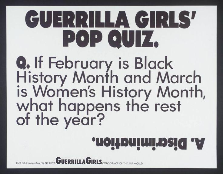 Guerrilla Girls '[no title]', 1985–90 © courtesy www.guerrillagirls.com