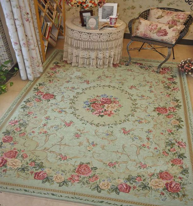 Victoria Style Country Floral Floor Mat Rug Carpet Size 200X140cm Light Green #Country