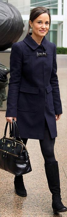 Who made Pippa Middleton's black suede boots, black handbag, and blue buckle coat that she wore on October 26, 2012?