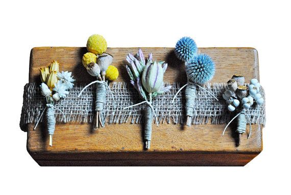 Natural boutonnieres. Love that blue. $15