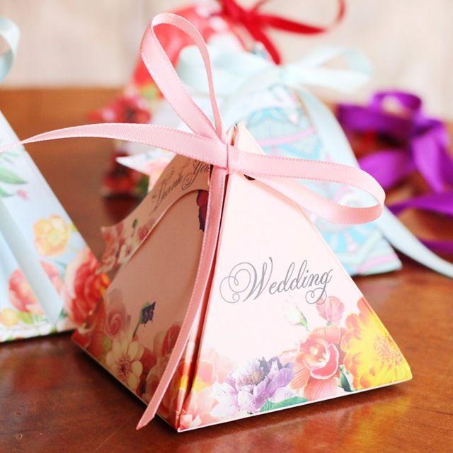 Европейский Стиль Цветочные Свадьба Треугольник Конфеты Коробки Конфеты Свадьбы Пользу Коробки Бумажные Дела Свадебные Украшения A65