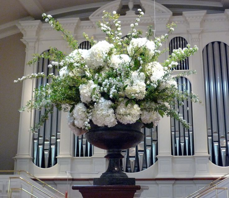 Wedding Altar Flowers With Spirea And Hydrangea