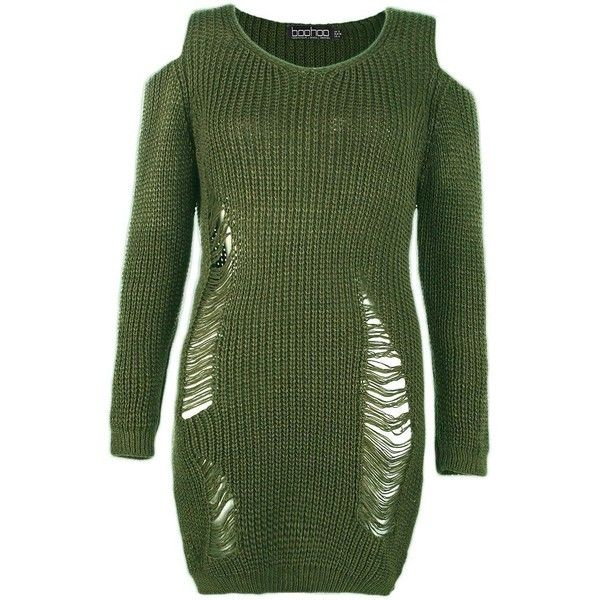 Boohoo Lottie Soft Knit Cold Shoulder Distressed Jumper Dress | Boohoo ($28) ❤ liked on Polyvore featuring tops, sweaters, wrap sweater, green knit sweater, nordic sweater, party jumpers and ripped sweaters