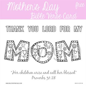Mother's Day Scripture Card from Kids