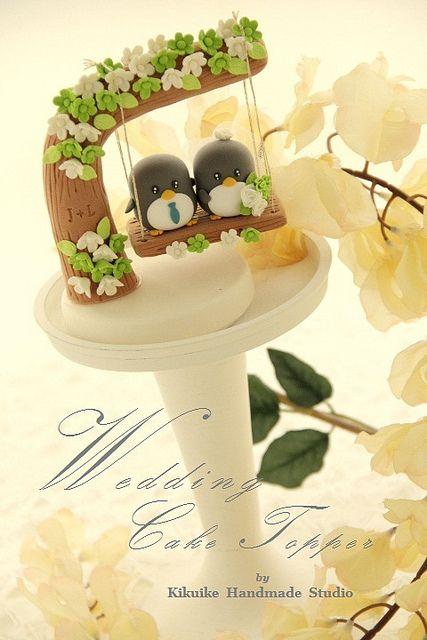 penguin couple wedding cake topper