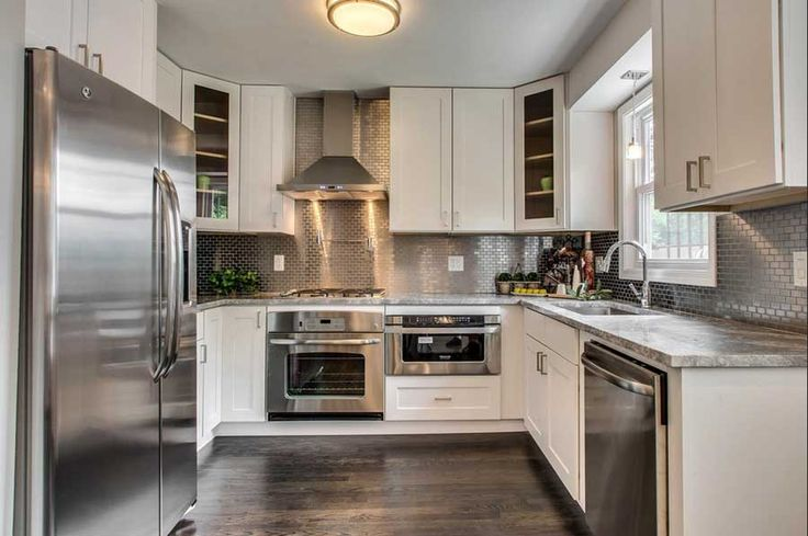 Küchenrückwand Edelstahl Mit Fliesen Muster Für Moderne Küche Weiß U Form Design Mit Granit Arbeitsplatte