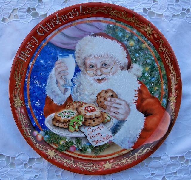 piatto babbo natale  dipinto a mano