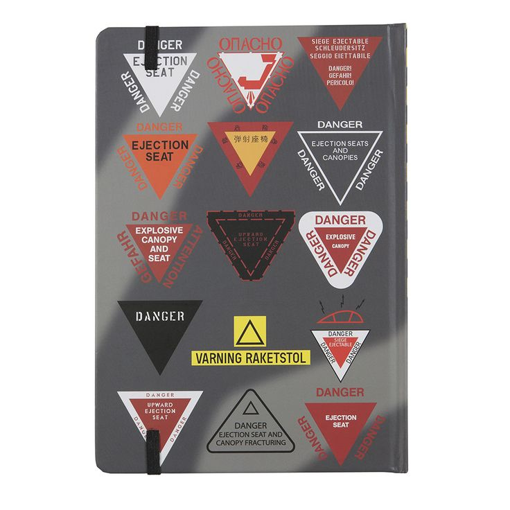 Danger Ejection Seat A5 Notebook Back Cover -  A selection of ejection seat warning signs from the world's air forces and military aircraft by Basic Six - Aviation, AvGeek