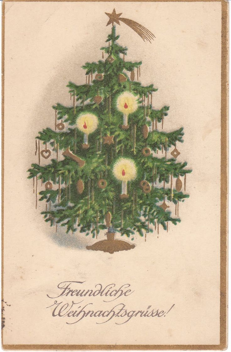 Wreath from old christmas cards - German Christmas Tree In Forest Vintage Cards Bing Images