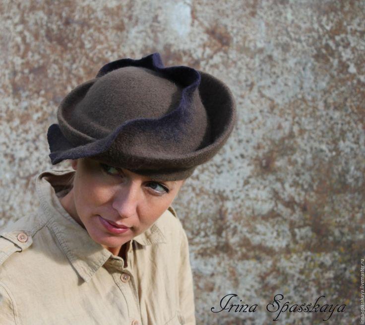 """Купить Шляпка """"Холодное море"""" из коллекции """"Геоживопись"""" - темно-серый, абстрактный, шляпка с полями"""