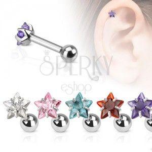 Ocelový piercing do ucha, barevná zirkonová hvězda